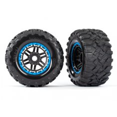 "Traxxas 8972A Tires & Wheels Maxx/Black/Blue (17mm) 2,8"" TSM (2)"