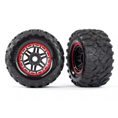 "Traxxas 8972R Tires & Wheels Maxx/Black/Red (17mm) 2,8"" TSM (2)"
