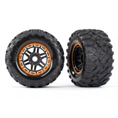 "Traxxas 8972T Tires & Wheels Maxx/Black/Orange (17mm) 2,8"" TSM (2)"