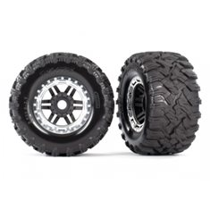 "Traxxas 8972X Tires & Wheels Maxx/Black/Satin Chrome (17mm) 2,8"" TSM (2)"